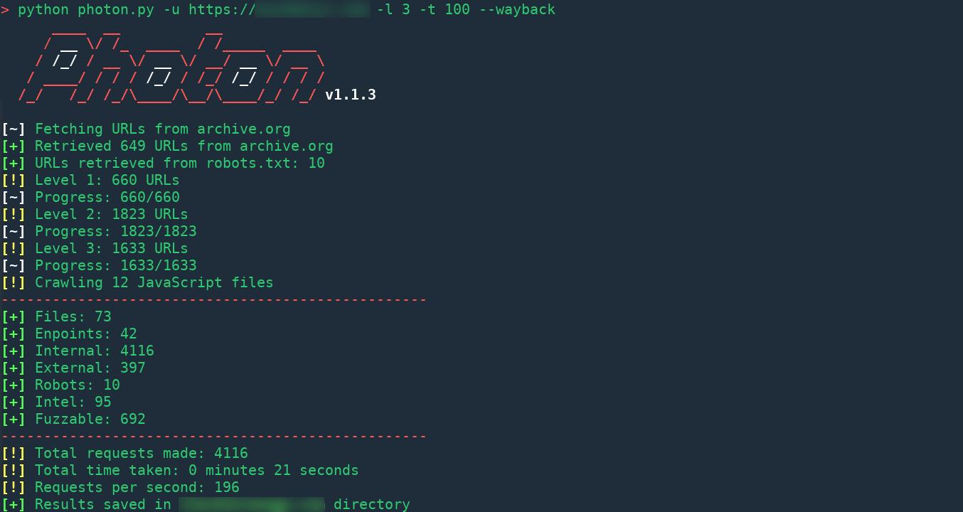 Photon:高速爬虫程序,可提取网址、帐户、文件、密钥、子域和DNS等