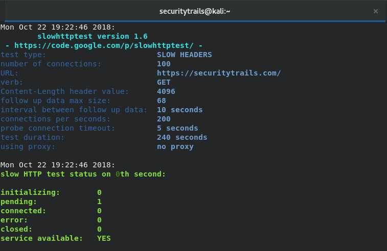 SlowHTTPTest - 拒绝服务DoS攻击模拟器