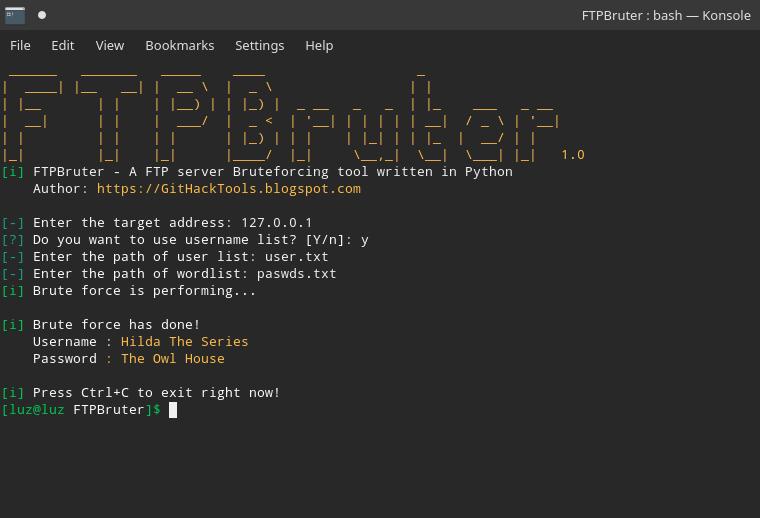 FTPBruter:一个FTP服务器暴力破解脚本