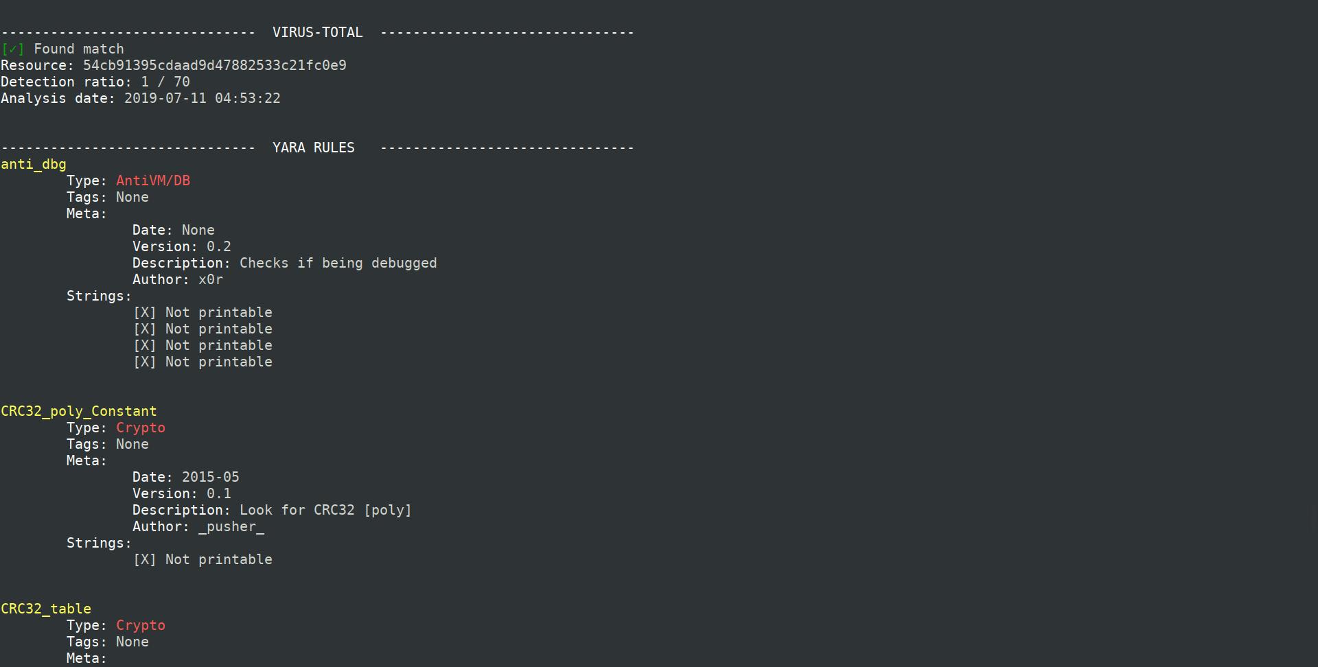 PEpper  - PE文件恶意软件静态分析的开源脚本