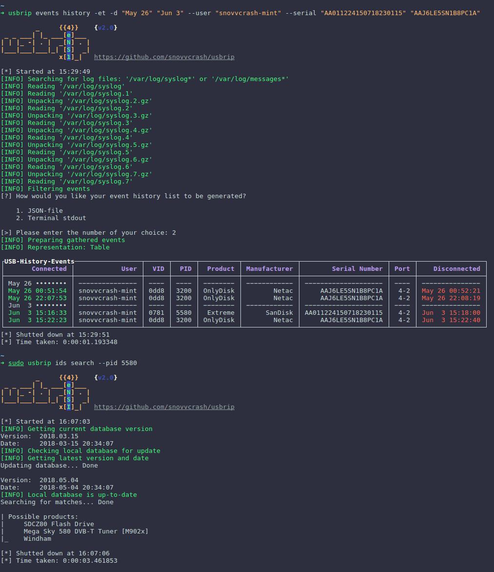 usbrip:Linux上跟踪USB设备的CLI取证工具