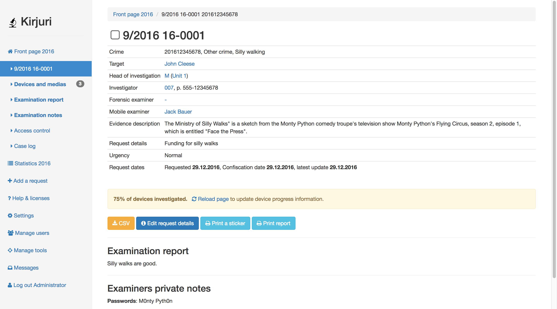 开源的《取证管理系统》和《法医证据管理系统》:Kirjuri