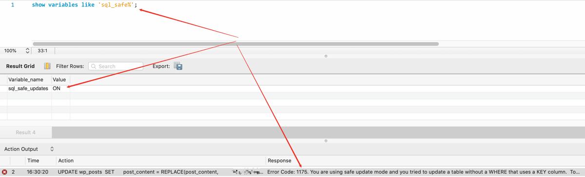 解决MySQL错误:ERROR 1175: You are using safe update mode