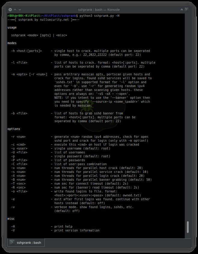 一款高速SSH爆破扫描器:sshprank