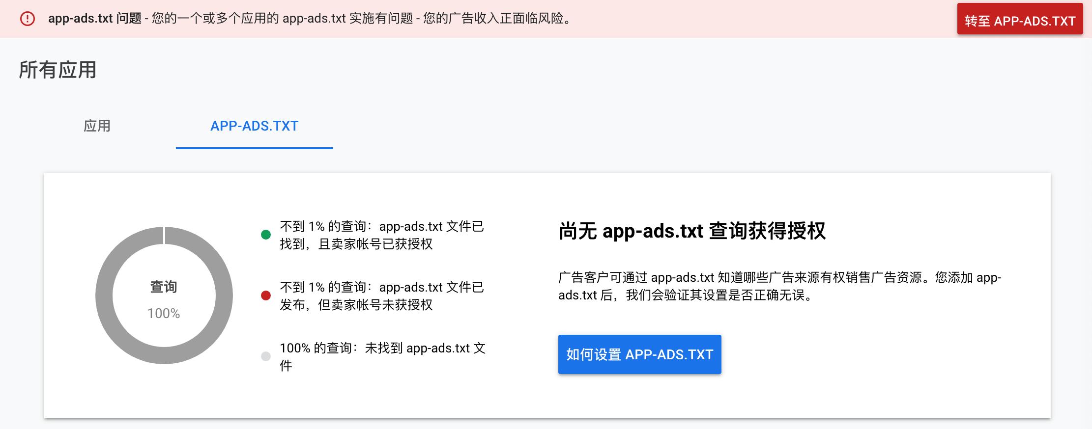 app-ads.txt 问题 您的一个或多个应用的 app-ads.txt 实施有问题
